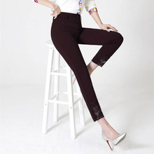 Middle-aged women's clothing fashion pants women's lace hollow out nine points of tall waist panty Ptw1517(China)