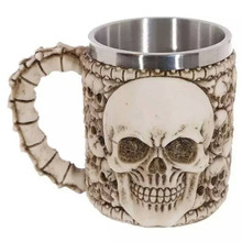 3D MUGs Resin Stainless Steel Water Novelty Cup Intensive Skull Head Ghost Mug Drinking Drinking Bottle Home Essential Drinkware(China)