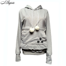 Cat Lovers Hoodies With Cuddle Pouch Dog Pet Hoodies For Casual Kangaroo Pullovers With Ears Sweatshirt 4XL Drop Shipping 042(China)