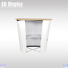 High Quality Curve Shape Advertising Pop Up Promotional Table,Exhibition Display Pop Up Podium
