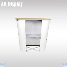 High Quality Curve Shape Advertising Pop Up Promotional Table,Exhibition Display Pop Up Podium(China)
