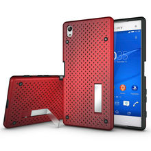 for Sony Xperia Z5 Plus / Z5 Premium Mesh Hole Stand Hybrid Back Cover Heat Radiation + Kickstand Holder Armor Cell Phone Case(China)