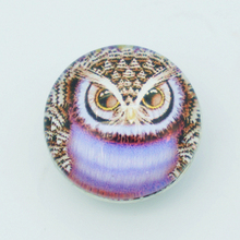 10pcs 18MM Owl glass cabochon snap buttons fit DIY snap bracelet jewelry OEM ODM print buttons wholesale