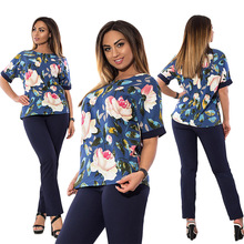 Buy plus size Women clothing 2018 short sleeve casual Two Piece Set Fashion floral print tshirt+Elastic Waist Long Pant 2 Piece Suit for $20.02 in AliExpress store