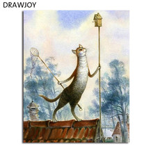 Cats Frameless Picture Painting By Numbers Home Decor DIY Coloring By Numbers On Canvas Fashion Cats 40*50cm Painting GX4519(China)