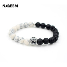 NADEEM 2017 New Pitbull Dog Hand Paw Charm 8mm White Howlite & Lava Stone Mala Bead Yoga Elastic Bracelet For Men Women Gift(China)