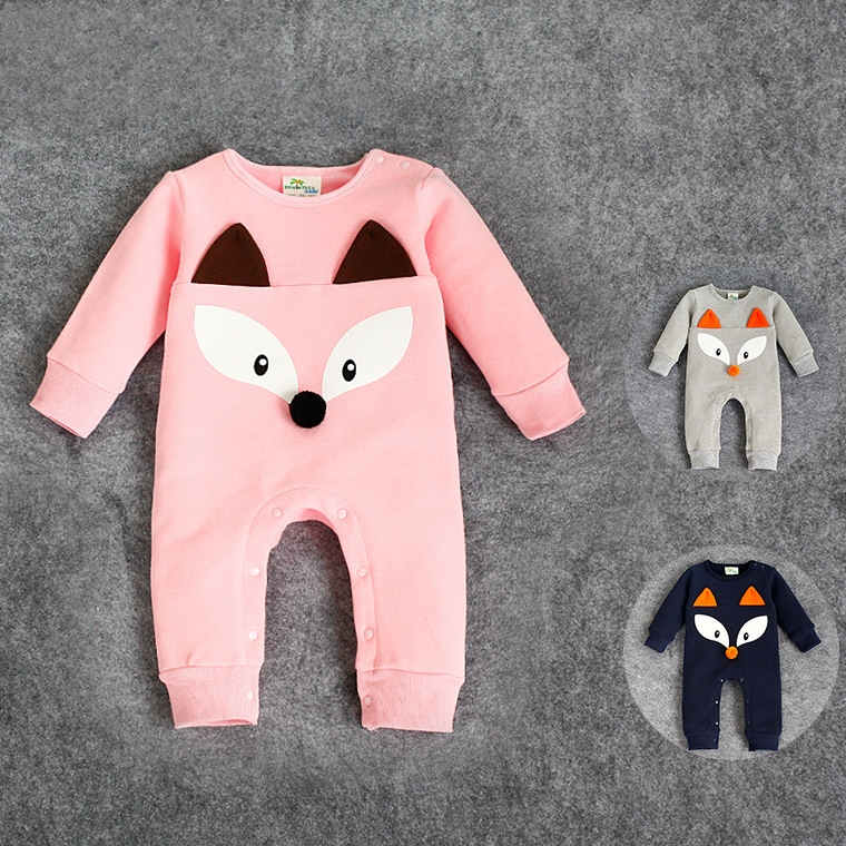 2015 new fashion baby snowsuit kawaii fox long sleeve laki-laki rompers high quality cashmere 3 color  tutine neonato velluto<br><br>Aliexpress