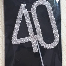Happy age 40th Birthday Wedding Anniversary party decoration kits 1 piece Number 40 Rhinestone Crystal Cake Topper