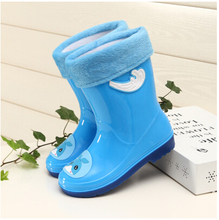 Free shipping Children's Rain Boots Girls plus velvet warm water shoes for Children Rubber shoes Baby boots Children's boots 12