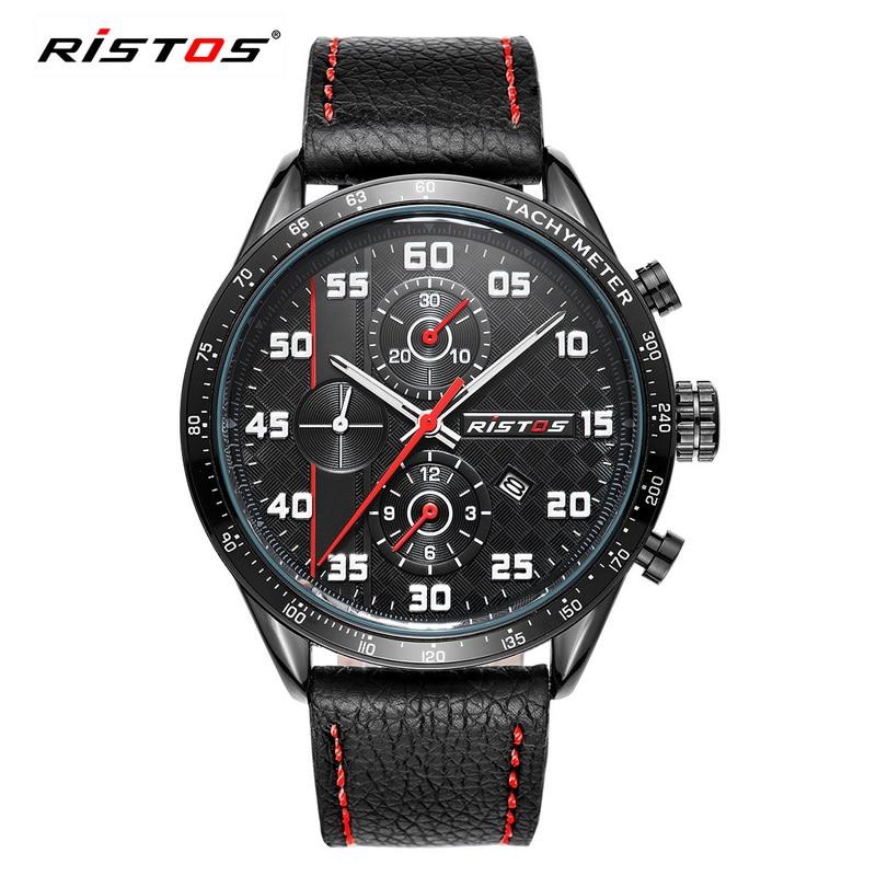 RISTOS Sport Mens Brand Watches Fashion Outdoor Waterproof Quartz Watch Men Casual Leather Clock Relogios Masculino erkek saat <br><br>Aliexpress