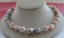 FREE SHIPPING Natural 19mm Multicolor Baroque Edison Reborn Keshi Pearl Necklace 14KGP #f2446!