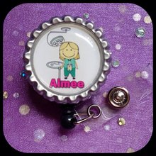 DENTAL ASST PERSONALIZED Name Retractable Work ID Badge Holder Lanyard Clip Cap