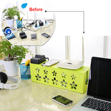 Best Price Hollow Flower Cable Box Electrical Outlet Power Strip Wire Cord Organiser Storage Box Tidy Device Cable Tidy Box(China)