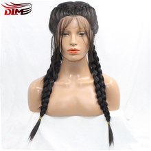 Dlme Long Black Braids Middle Part Synthetic Braided Lace Front Wig With Baby Hair Brazilian Wigs For Women /Lady/Girl