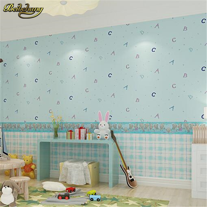 beibehang wallpaper green boys and girls cartoon childrens room bedroom wallpaper letters AB version with grid,papel de parede<br>