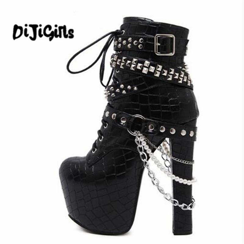 Zip Metal Chains Rivet Motorcycle Boots Women Shoes Super High Heels Platform Ankle Boots Punk Rock Gothic Biker Boots<br>