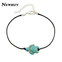 NEWBUY 2017 Fashion Black Leather Rope Anklets For Women Vintage Tortoise Charm Foot Bracelet Jewelry Wholesale(China)