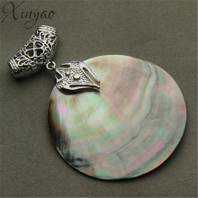 XINYAO Vintage Natural Mother of Pearl Shell Pendant Antique Silver Plated Abalone Shell Pendants Charms Jewelry Making F1151(China)