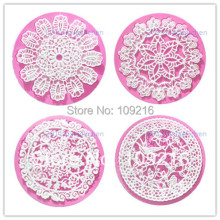 wholesale!!1set/4pcs Mini Pretty Circle Shaped Bud Silk Lace Silicone Handmade Fondant/Cake Decorating DIY Mold