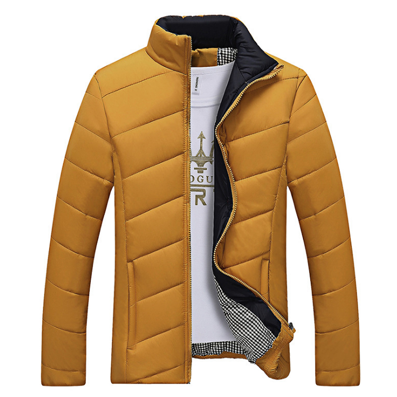 Candy Color Winter Jacket Men Slim Fit Black Coats Jackets Brand Fashion Stand Collar Zipper Coat Outerwear Cotton-Padded X330