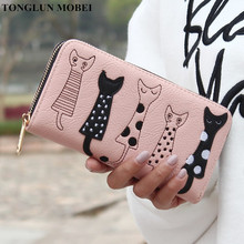 TONGLUN MOBEI Women Wallets Modern Cat Pattern Ladies Purse Zipper Brand Design Female Clutch Wallet Cute Cartoon Girl Money bag