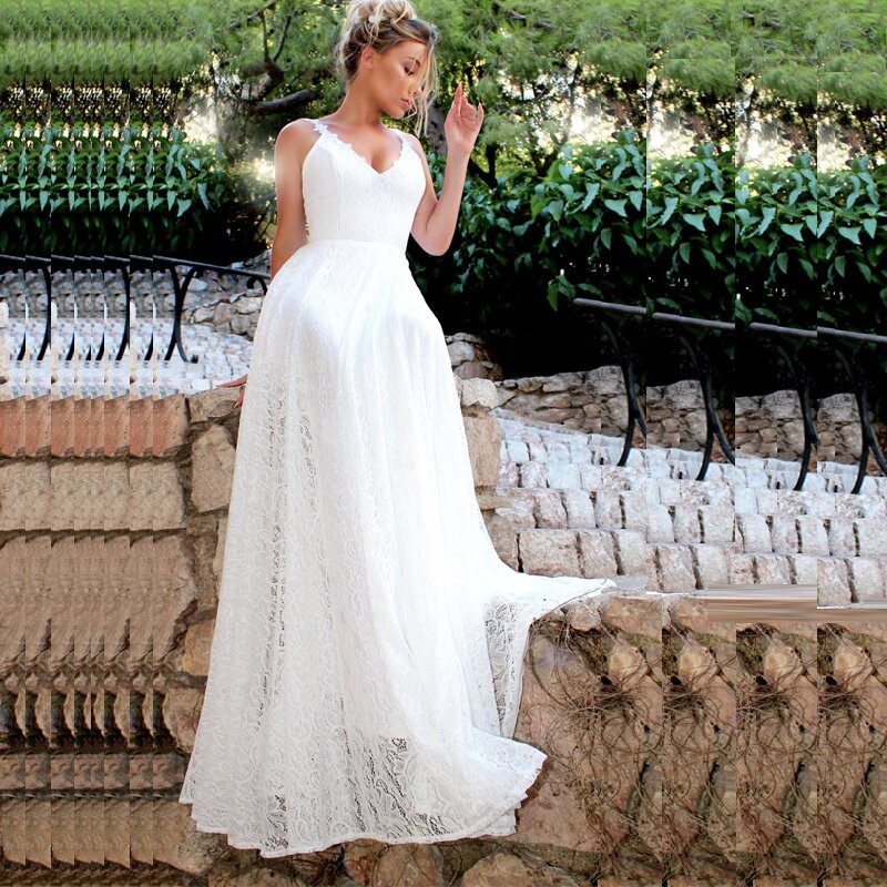 New Arrival bridal dress Lace wedding dress 2019 Spaghetti Straps white Wedding gowns Casamento Cheap beach wedding dress