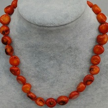 FREE SHIPPING HOT STYLE IN 46CM red artificial coral NECKLACE PURE HANDWORKING MADE simple and fashion for women jewelry design(China)