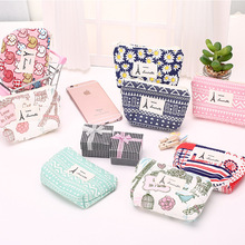 RU&BR Small Fresh Style Coin Purse Retro Cotton Fabric Coin Packet Purse Soft Zipper Headset Bag Card holder Women Wallet(China)