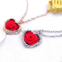 Free Shipping High Quality Fancy Heart And Red Rose Pendent Necklace Girls Necklace