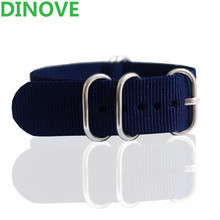 DINOVE High Quality Nylon Watch Band Straps 16mm 18mm 20mm 22mm Nato Zulu Watch Band 24mm Navy Solid color