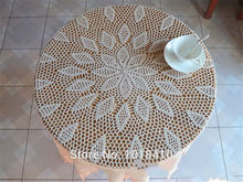 "160cm(63"") Round Garden hand crochet tablecloth cotton hollow circular table cloth white / Cream"