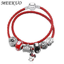 Buy Hot European Style Mickey Minnie Love Charm Bracelets Women Fashion Red Glass Charm fits pandora Bracelets & Bangles DIY Jewelry for $3.00 in AliExpress store