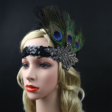 2017 Women  Feather Headpiece Vinta Lady  Women  Vintage Party Wedding Headband Flapper Black Ostrich Rhinestone Hot Hair Band