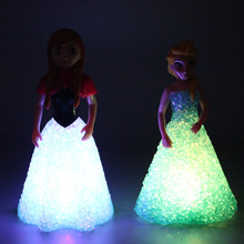 Fashion Baby Dolls Frozen Princess Anna Elsa Dolls With Light Mini Elsa Doll Kids Toys Carttoon Dolls Children Gift(China)