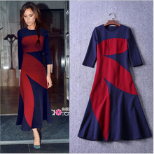 2017 Spring New Arrived Victoria Beckham Color Splicing O-Neck Three Quarter Sleeves Ankle-Length Cotton Dress Women Elegant(China)