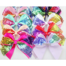 15 pcs/lot sequin bow , hair sequin bow with hair clip for headband headwear hair accesories(China)