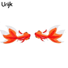 Urijk 1Pair Fish Patches Stripes Clothing Patch Embroidered DIY Applications Patches Applique Stickers Clothes Sew Badges 7x11cm(China)