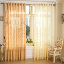 Quality jacquard garden curtains for home voile cutout window sheer blind lace decoration customize yellow white curtain