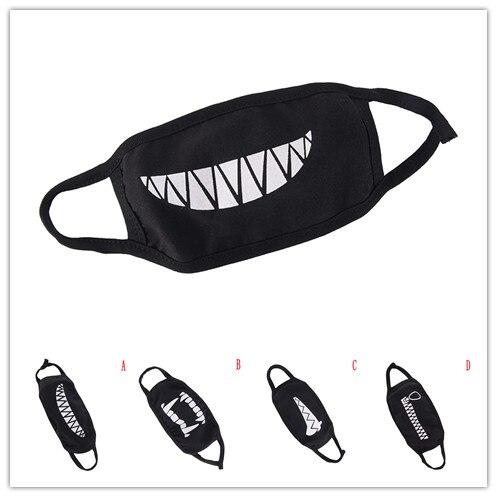 1Pc Unisex Black Cotton Dustproof Mouth Face Mask Cartoon Kpop Women Men Muffle Cute Face Mouth Masks 2019 New