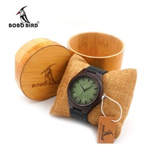 BOBO BIRD F03 Ebony Wood Watches With Green Wood Face Real Leather Band Mens Top Brand Designer Quartz Watch in Round Bamboo Box