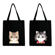 Cute cat supermarket trolley bag large capacity handbag Environmental protection storage bag Printed fashion Canvas shopping bag