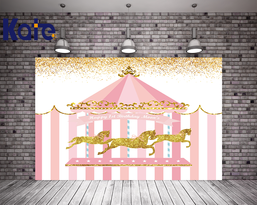 Kate Pink 1st Birthday Theme Backdrops For Children House Background Golden Horse Photography Background Children Photobooth<br>