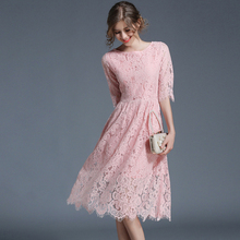 Buy Sexy Pink hollow Lace dress women 2017 Summer Round neck half sleeve Slim fit dress Vestidos party office work dresses Robe for $33.21 in AliExpress store