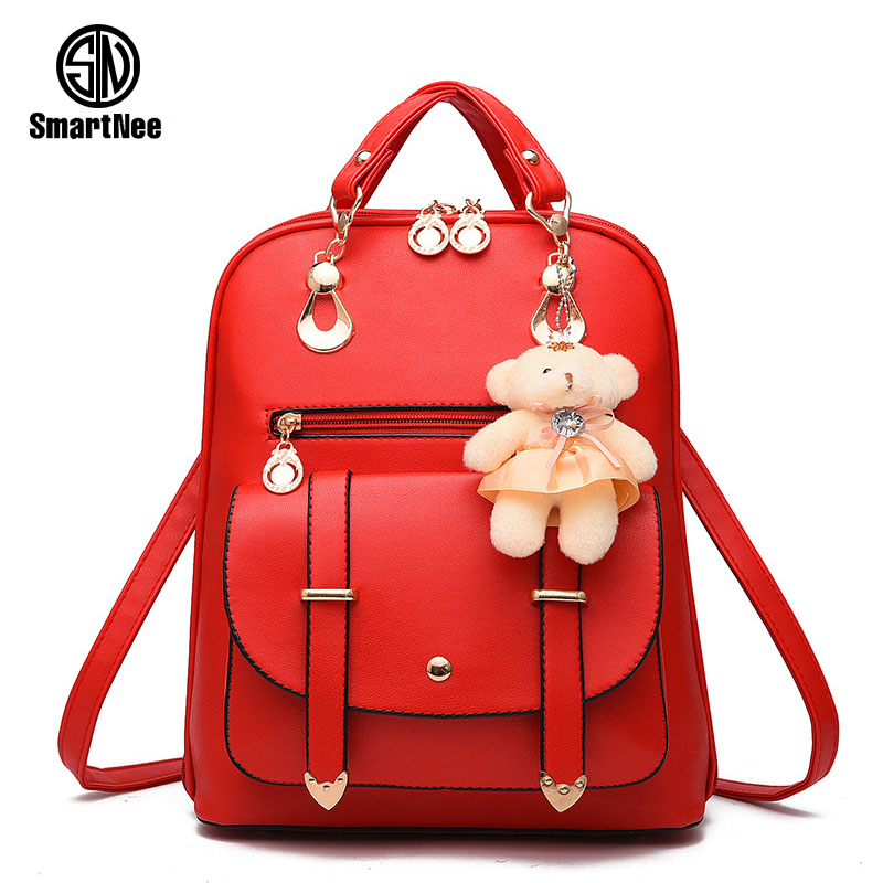 SmartNee New Women PU Leather Backpack Black Bolsas Large Girl Schoolbag Travel Bag Solid Candy Color Green Pink Beige<br><br>Aliexpress