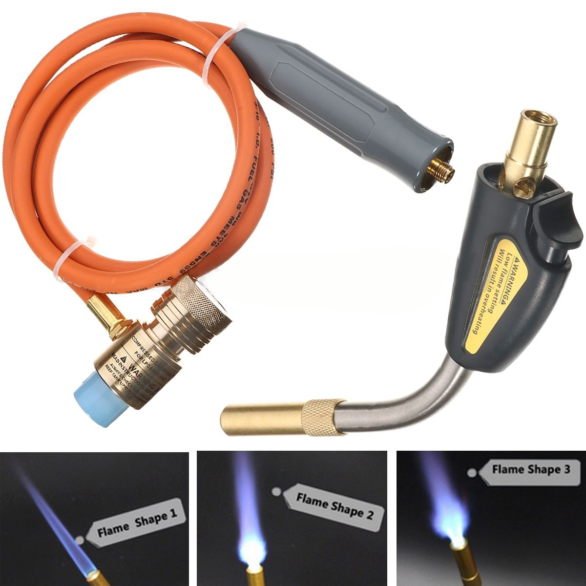 Mayitr Gas Self Ignition Plumbing Turbo Torch With Hose Adjustable Flame Control Solder Propane Welding Torch for Air Condition<br>