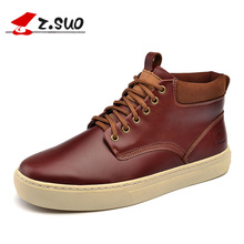 Z. Suo men boots. The first layer of cowhide fashion boots man, pure color with men's casual shoes, Zapatos de cuero zs9705
