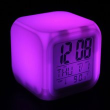 Newest Cube Digital LED Clock Colors Change Alarm Date Time Thermometer Lot Colors