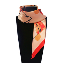60cm*60cm Women 2017 New Fashion Imitated Silk Impressionism Hand Painted Oil Painting Small Square Scarf Hot Sale(China)