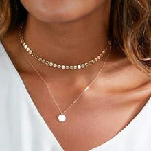 2017 New Simple Vintage Copper Sequins Double Layer Pendant Choker Necklace for Women Girls Chocker Collar Jewelry Gift(China)