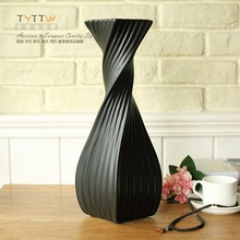 Black white Modern creative ceramic flower vase pot home decor craft room decoration wedding decoration objects vintage figurine